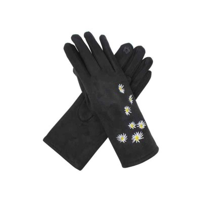 Suede Feel Daisy Touch Screen Gloves