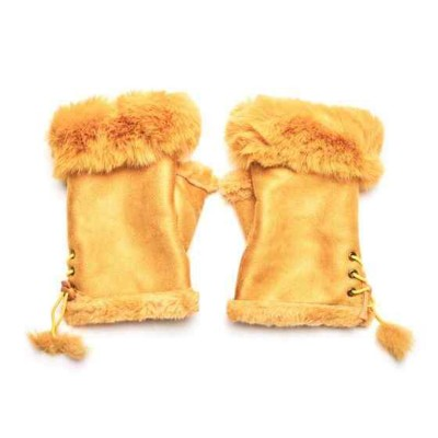 Faux Fur Trimmed Hand Warmers (G1822)