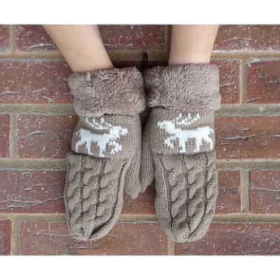 Fleece Lined Reindeer Mittens