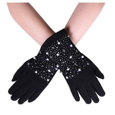 Pearl & Diamante Touchscreen Gloves