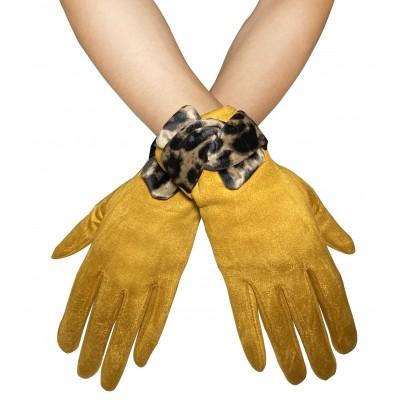 Suede Feel Leopard Trim Touchscreen Gloves