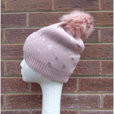 Silver Heart Bobble Hat (H816)