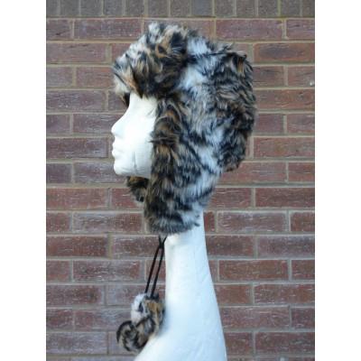 Animal Print Trapper Hat M5123 (Brown)
