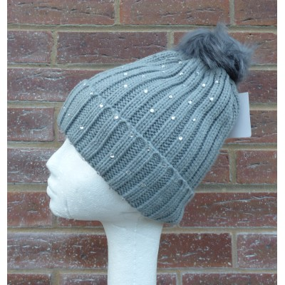 Fleeced Lined Crystal Bobble Hat YC22 (Grey)
