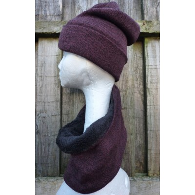 Fleece Lined Dark Maroon Hat & Snood Set BG800-223