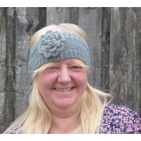 Glitter Rose Knit Head Warmer (Grey)