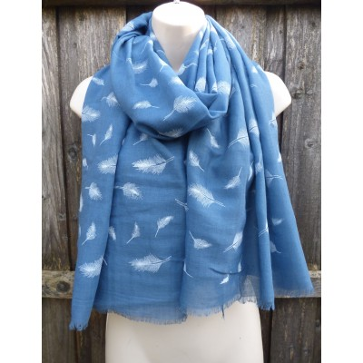 Embossed Feathers (Blue)