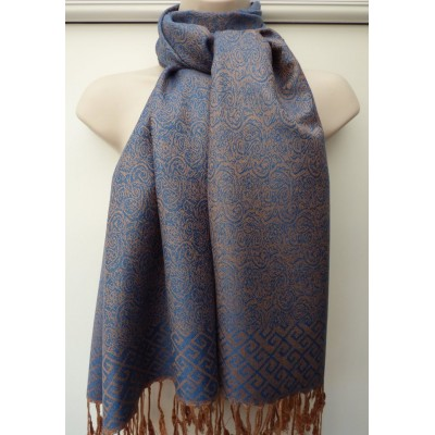 Blue & Copper Pashmina 7143