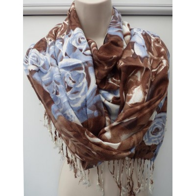 Bold Rose Pashmina (Chocolate / Blue)