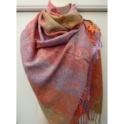 Bright Paisley Pashmina (Multi / Orange) 7144