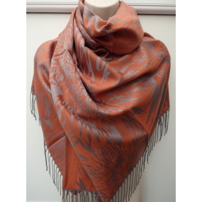 Burnt Orange & Silver Pashmina 7078