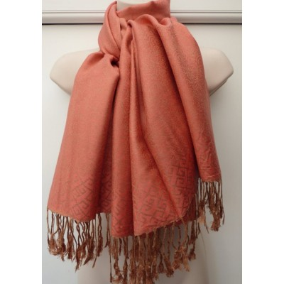 Deep Coral & Copper Pashmina 7143