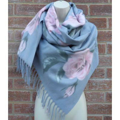Grey & Pink Rose Wrap (9426)
