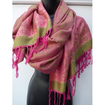Hot Pink & Lime Pashmina 1607