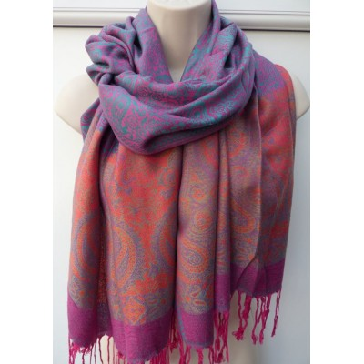 Hot Pink, Orange & Turquoise Pashmina