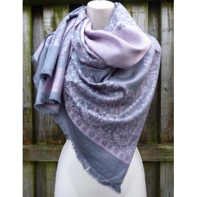 Reversible Floral Pashmina 8181 (Grey / Pink)