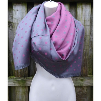Reversible Spotty Pashmina (Grey / Crimson)