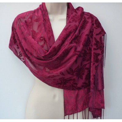 Sheer & Velvet Feel Wrap (Wine)