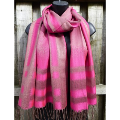 Hot Pink & Bronze Pashmina (7155)