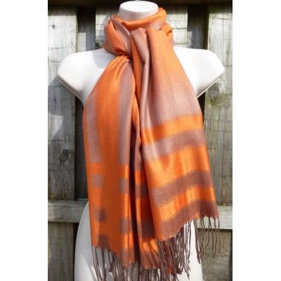 Orange & Bronze Pashmina (7155)