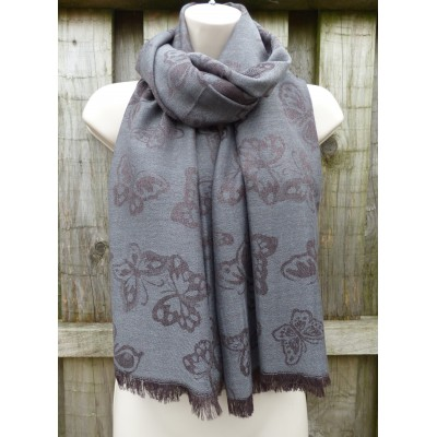 Reversible Butterfly Pashmina 1404 (Grey)