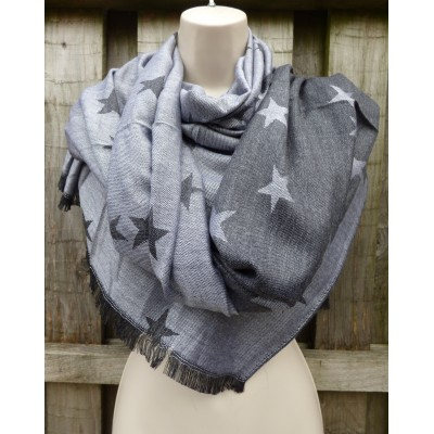 Reversible Star Pashmina (Grey / Charcoal)