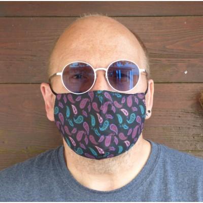 Adjustable Filter Mask - Tiny Paisley (Black / Purple)