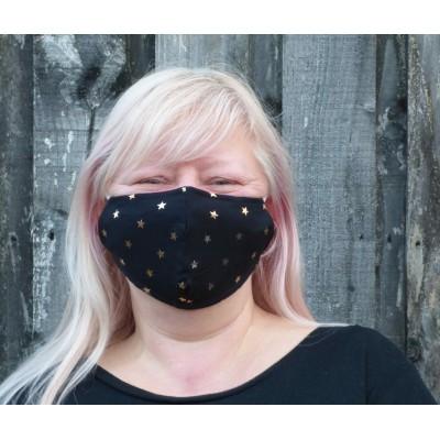 Adjustable Filter Mask - YC Rose Gold Stars (Black)