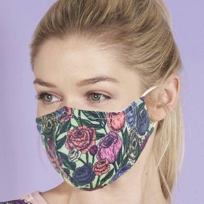 Adjustable Filter Mask - Eco Peonies (Green / Multicoloured)