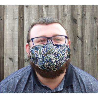 Adjustable Filter Mask - Navy Paisley