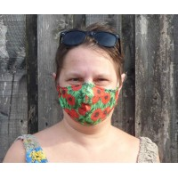 Adjustable Filter Mask - Eco Poppies (Green / Red)
