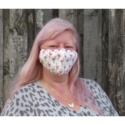 Adjustable Filter Mask - Flamingos (Cream)