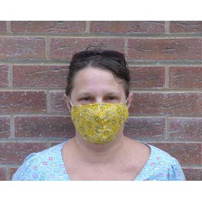 Adjustable Filter Mask - Mustard Paisley