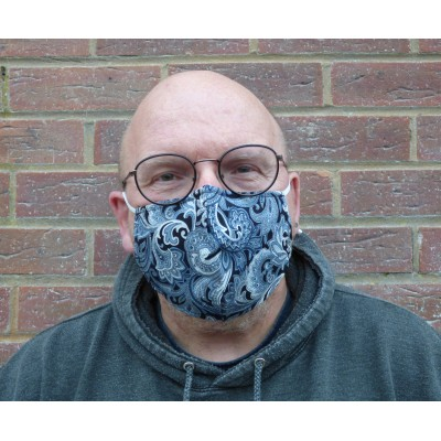 Adjustable Filter Mask - Petrol Blue Paisley