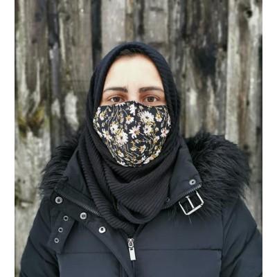 Adjustable Filter Mask - Meadow Flowers (Black)