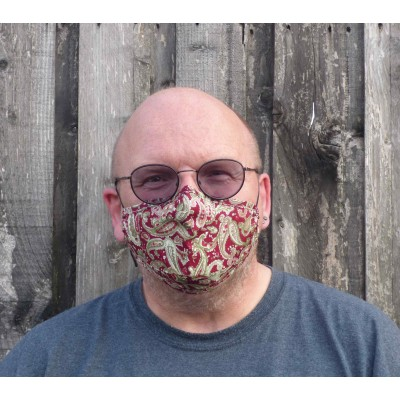 Adjustable Filter Mask - Wine Paisley
