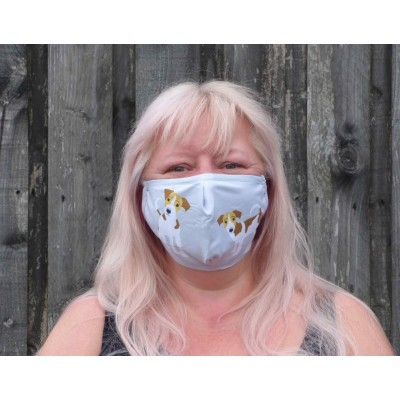 Two Layer Mask - Jack Russells (Light Grey)