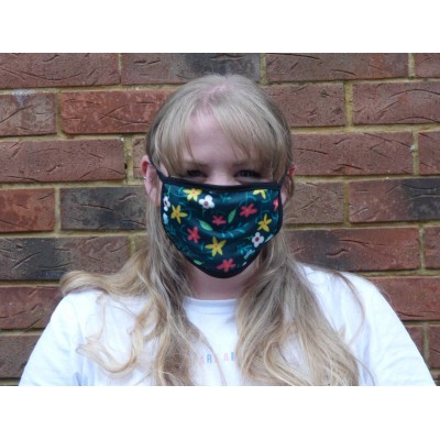Double Layer Stretch Mask - Floral (Bottle Green)