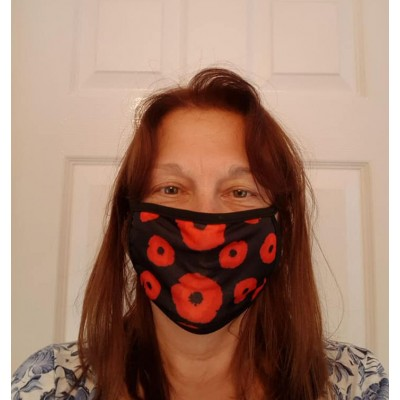 Double Layer Stretch Mask - Poppies (Black)