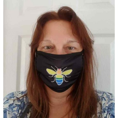 Double Layer Stretch Mask - Rainbow Bee (Black)