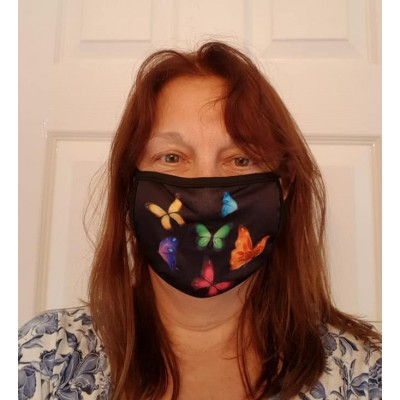 Double Layer Stretch Mask - Rainbow Butterflies (Black)