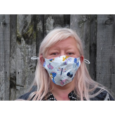 Two Layer Mask - Butterflies & Dragonflies (White / Multi)