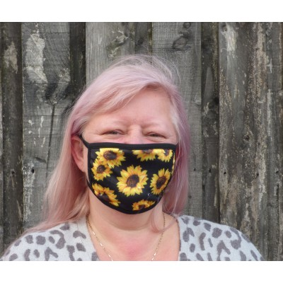 Double Layer Stretch Mask - Sunflowers (Black)
