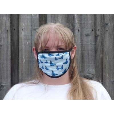 Double Layer Stretch Mask - Butterflies (Light Blue)