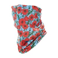 Stretch Snood - Eco Filter Snood - Poppies (Green / Red)