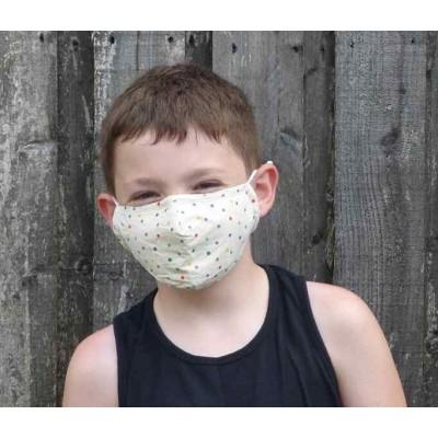 Kids Adjustable Filter Mask - Dots (Cream)