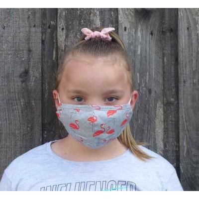 Kids Adjustable Filter Mask - Flamingos (Grey)