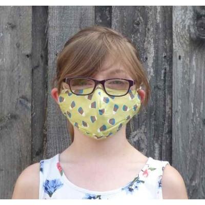 Kids Adjustable Filter Mask - Shapes (Lime)