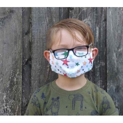 Kids Adjustable Filter Mask - Stars (White / Multicoloured)
