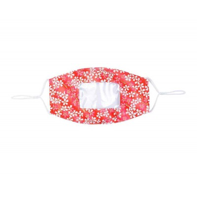 Clear Panel Mask - Gold Highlight Floral (Red)